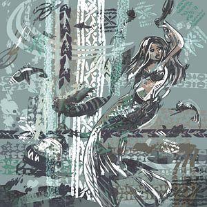 Mischtechnik - Meerjungfrau in Mintblau und Blaugrau von Wanddecoratie