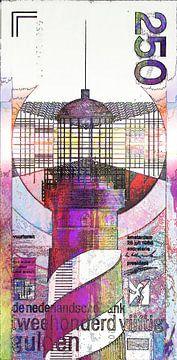 Billet de 250 florins néerlandais Oeuvre d'art numérique moderne et abstraite sur Art By Dominic