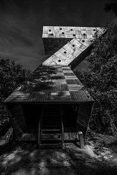 Zwart wit foto uitkijktoren Fochteloöerveen Friesland van