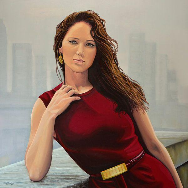 Jennifer Lawrence Schilderij van Paul Meijering