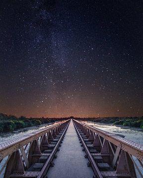 Voie lactée Moerputt Pont ferroviaire Den Bosch sur Joris Bax