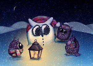 Owls Snowman von Marloes Boer