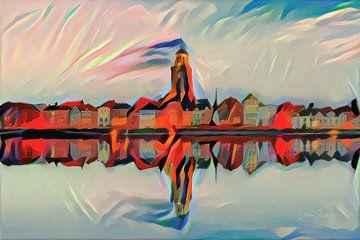 Abstract schilderij skyline Deventer - uitzicht over de IJssel van Slimme Kunst.nl