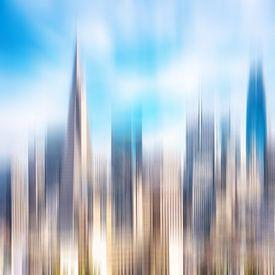 Mehrfachbelichtung abstrakt Hochhäuser in downtown San Francisco Kalifornien von Dieter Walther