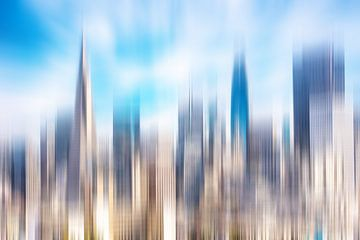 meervoudige belichting abstracte wolkenkrabbers in het centrum van San Francisco Californië van Dieter Walther