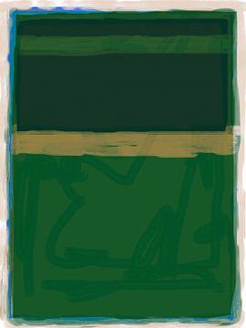 Abstract schilderij in groentinten van Rietje Bulthuis