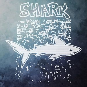 "Starkes Hai-Design mit Text ""Hai"""