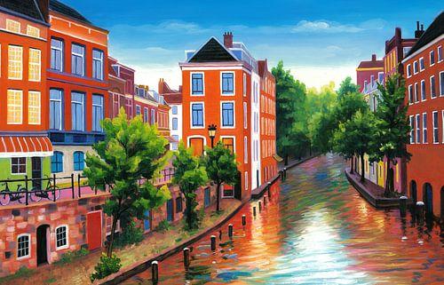 Schilderij Utrecht - Donkere Gaard von Kunst Company