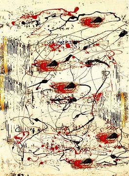 Structuurlijnen rood, geel, zwart van Klaus Heidecker