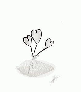 Licht grijze hartjes bloem van Romana Vac