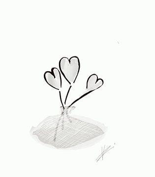 Blume mit hellgrauen Herzen von Romana Vac