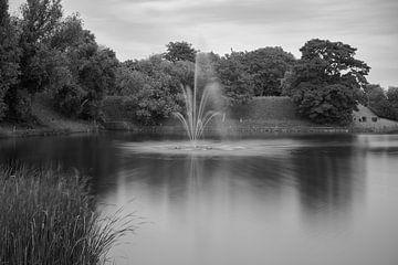 Springbrunnen in einer schwarz-weißen Landschaft von Etienne Rijsdijk