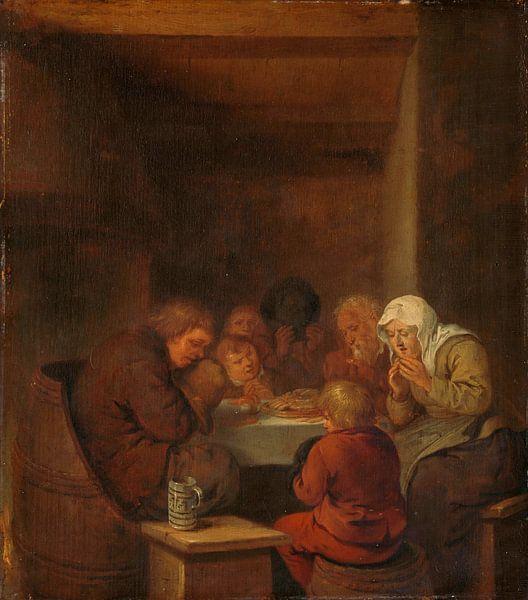 Das Tischgebet sprechend, Jan Miense Molenaer von Meesterlijcke Meesters