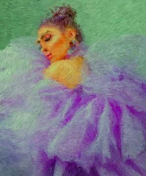 Vrouw in paars van Maurice Dawson