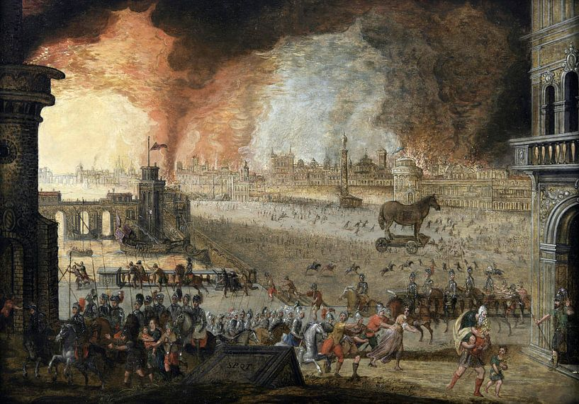 Der Überfall auf Troja, Louis de Caullery von Meesterlijcke Meesters