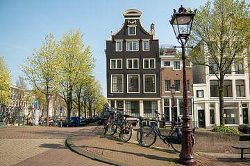 Grachtenpanden Blauwburgwal, Amsterdam van Marieke van de Velde