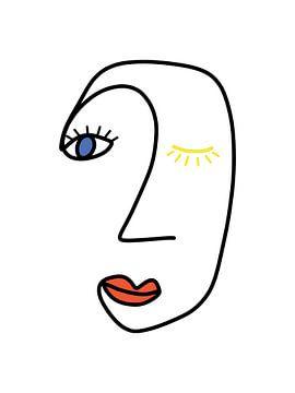 Abstraktes Gesicht in Rot, Blau und Gelb von MDRN HOME