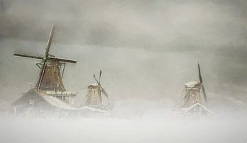 Die drei Mühlen,  Zaanse Schans von Lars van de Goor