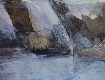 Abstracte collage van zee, storm en rotsen van Paul Nieuwendijk