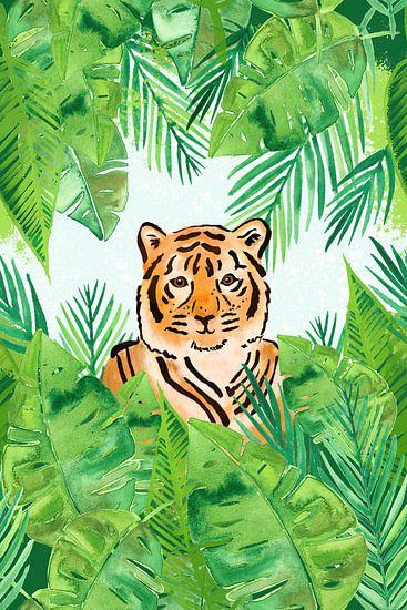 Tijger in de jungle waterverf