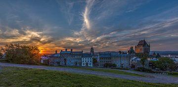 Oude stad van Quebec tijdens zonsondergang van Maarten Hoek