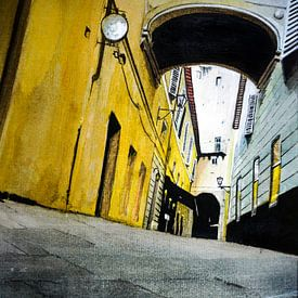 Eine Gasse in Florenz, Italien | Malerei in Aquarell von WatercolorWall