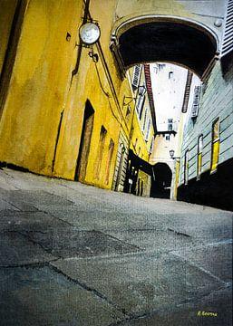 Een steeg in Florence, Italië | Schilderij in aquarel van WatercolorWall