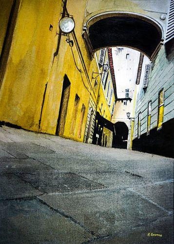 Eine Gasse in Florenz, Italien | Malerei in Aquarell