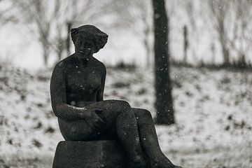 Standbeeld Veere in de sneeuw van Percy's fotografie