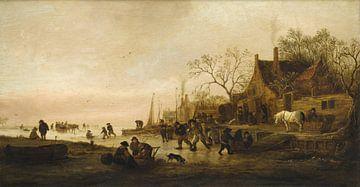 Dérivations hivernales sur une rivière, Isaack Jansz van Ostade sur