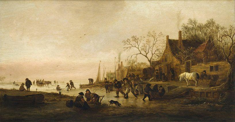 Winterunterhaltung an einem Fluss, Isaack Jansz van Ostade von Meesterlijcke Meesters