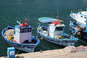 Vissersbootjes in haven op Sardinie van Monique Meijer