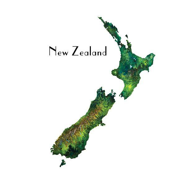 Nieuw Zeeland - Landkaart in Aquarel - Retro van Wereldkaarten.Shop