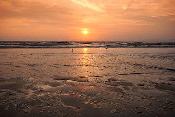 Sunset at the beach van Marc Arts