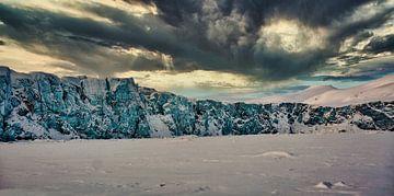 Voor de enorme gletsjer van Kai Müller