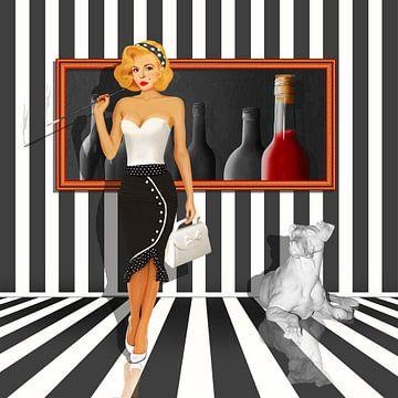 Serie: De dames kwartet 4 Black & white van Monika Jüngling
