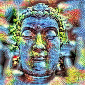 Buddha Bunter Stein 07032021 von Michael Ladenthin