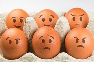 Eieren met gezichten en diverse uitdrukkingen