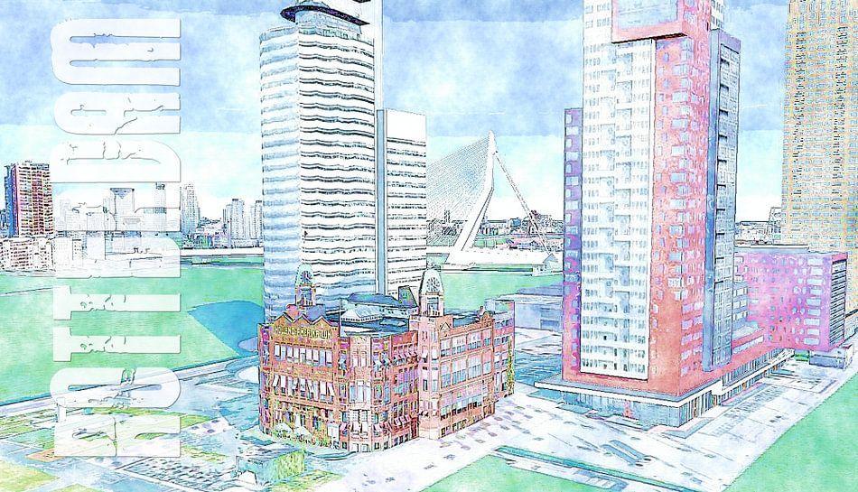 Schilderij Rotterdam kunstwerk met oa Holland Amerika Lijn Popart Kunst - Poster Rotterdam