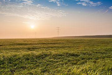 Opkomende zon boven grasland van Marcel Bakker