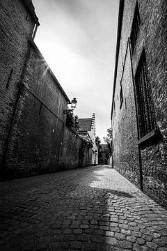 Steegje in Brugge in zwart wit van Mickéle Godderis