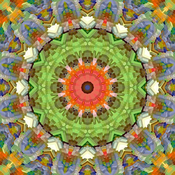 Mandala voorjaarskleuren blokken van Marion Tenbergen