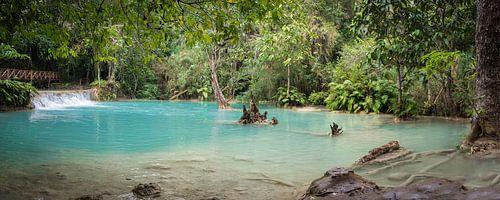 Waterbasin bij de Kuang Si waterval, Laos