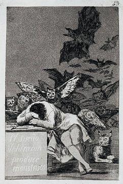 Francisco Goya, Der Schlaf der Vernunft bringt Ungeheuer hervor - 1799 von Atelier Liesjes