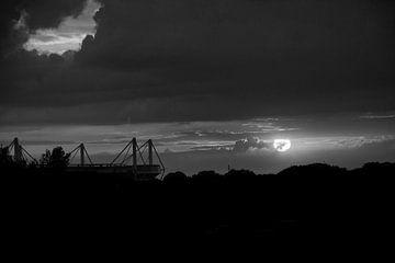 Westfalenstadion bij zonsondergang van Johnny Flash