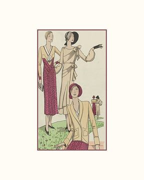 Die Damen | Historischer Art-Deco-Vintage-Druck | Damen im Park | Dots von NOONY