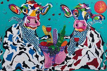 Bourgondische koeien van Kunstenares Mir Mirthe Kolkman van der Klip