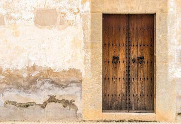 Gros plan d'une vieille porte d'entrée en bois et d'un fond de mur endommagé sur Alex Winter