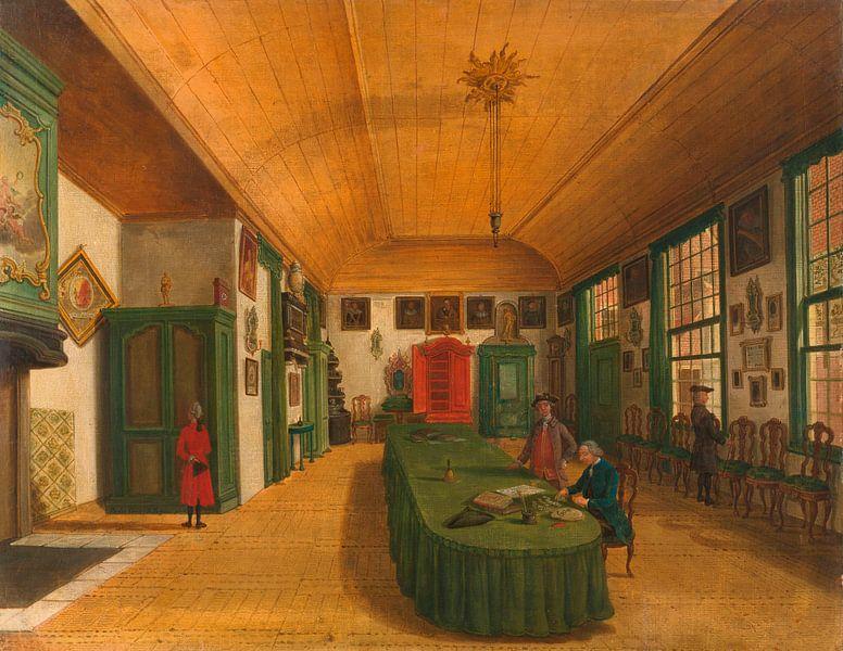 Der Saal einer Künstlergesellschaft in Leiden, Paulus Constantijn la Fargue von Meesterlijcke Meesters