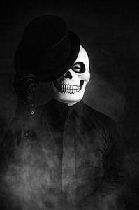 Man verkleed voor Dag van de Doden van